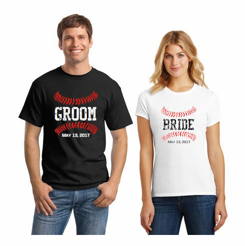 7c89c96d50864 Baseball Bride and Groom Personalized T-Shirts