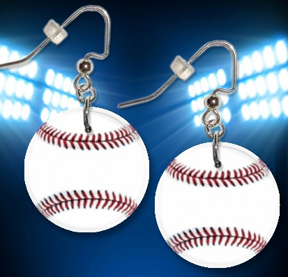 Baseball Button Dangle Earrings
