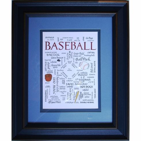 Baseball Calligraphy Framed Art