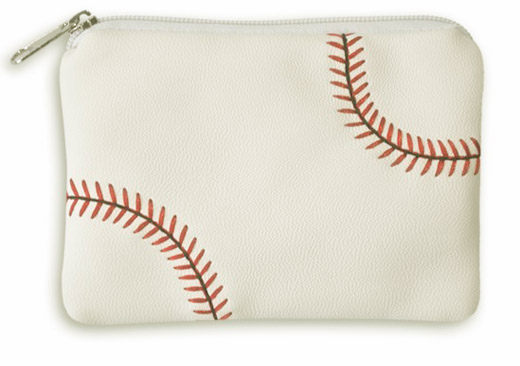 White Baseball Coin Purse