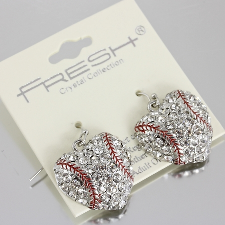 Baseball Crystal Heart Dangle Hook Earrings