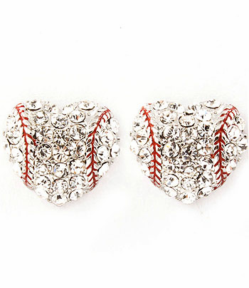 Baseball Crystal Heart Post Earrings