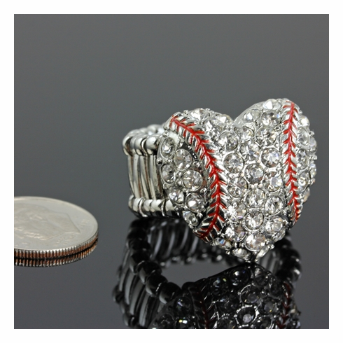 Baseball Crystal Heart Stretchy Ring