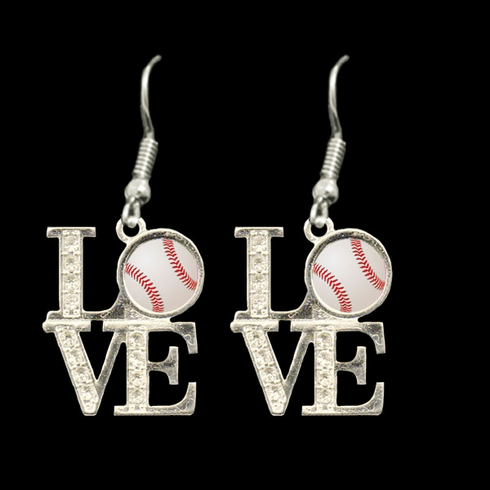 Baseball Crystal LOVE Dangle Earrings
