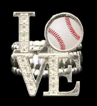 Baseball Crystal LOVE Stretchy Ring