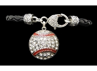 Baseball Crystal Stone Black Leather Bracelet