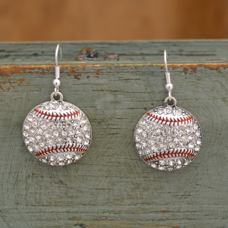 Baseball Crystal Stone Dangle Earrings