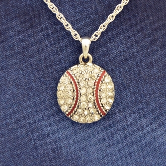Baseball Crystal Stone Necklace by Abby Girl