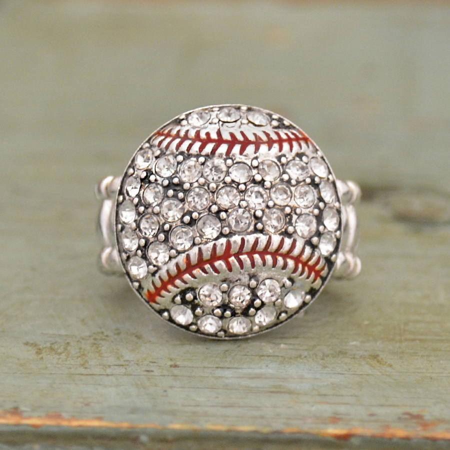 Baseball Crystal Stone Stretchy Ring