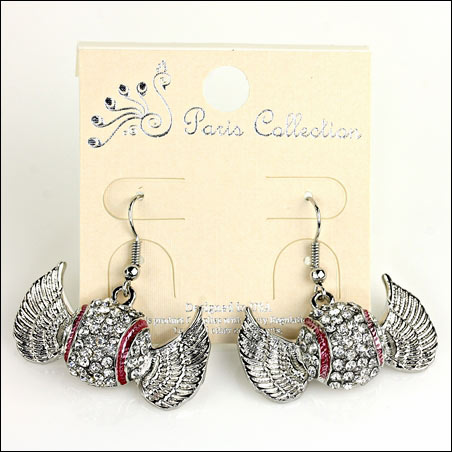 Baseball Crystal Wings Dangle Hook Earrings