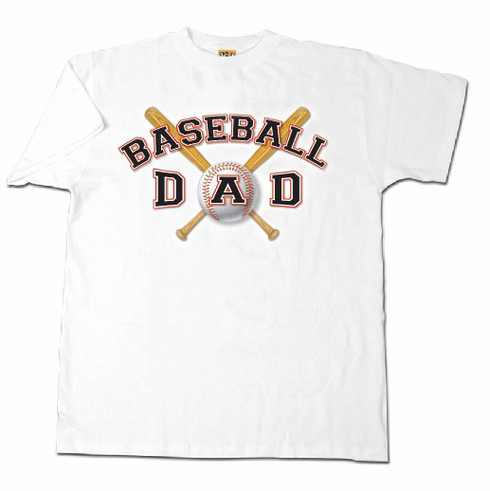 Baseball Dad Adult Medium White T-Shirt