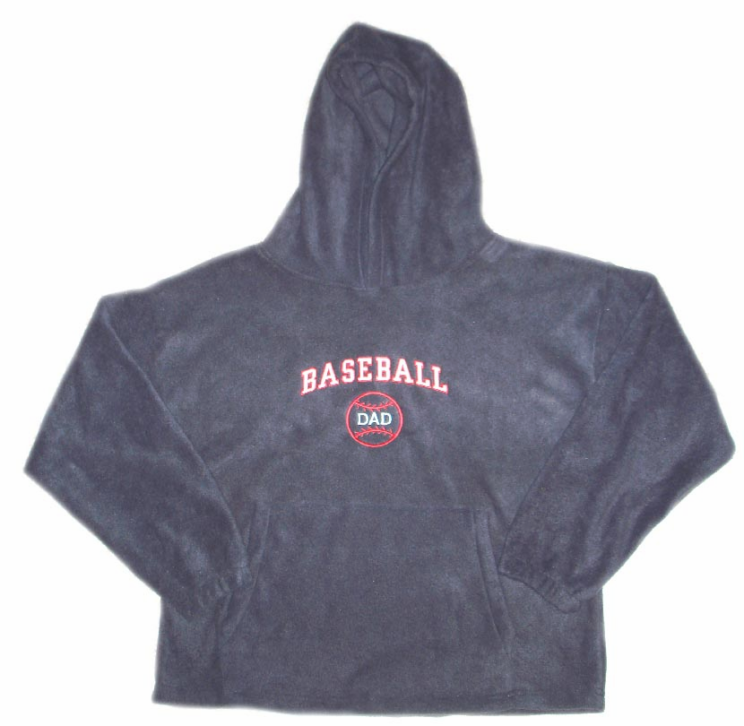 Baseball Dad Polar Fleece Hooded Pullover<br>3 ADULT SMALL LEFT