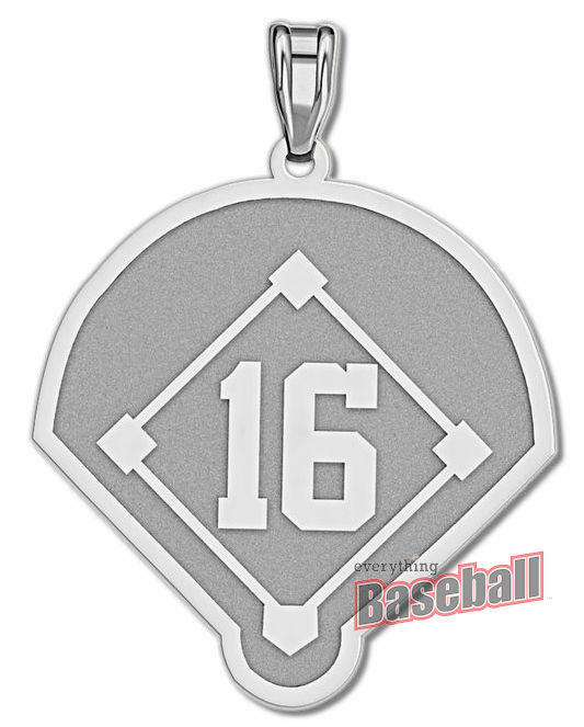 Baseball Diamond with Number Pendant<br>GOLD or SILVER<br>NOT GUARANTEED FOR CHRISTMAS DELIVERY