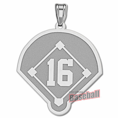 Baseball Diamond with Number Pendant<br>GOLD or SILVER