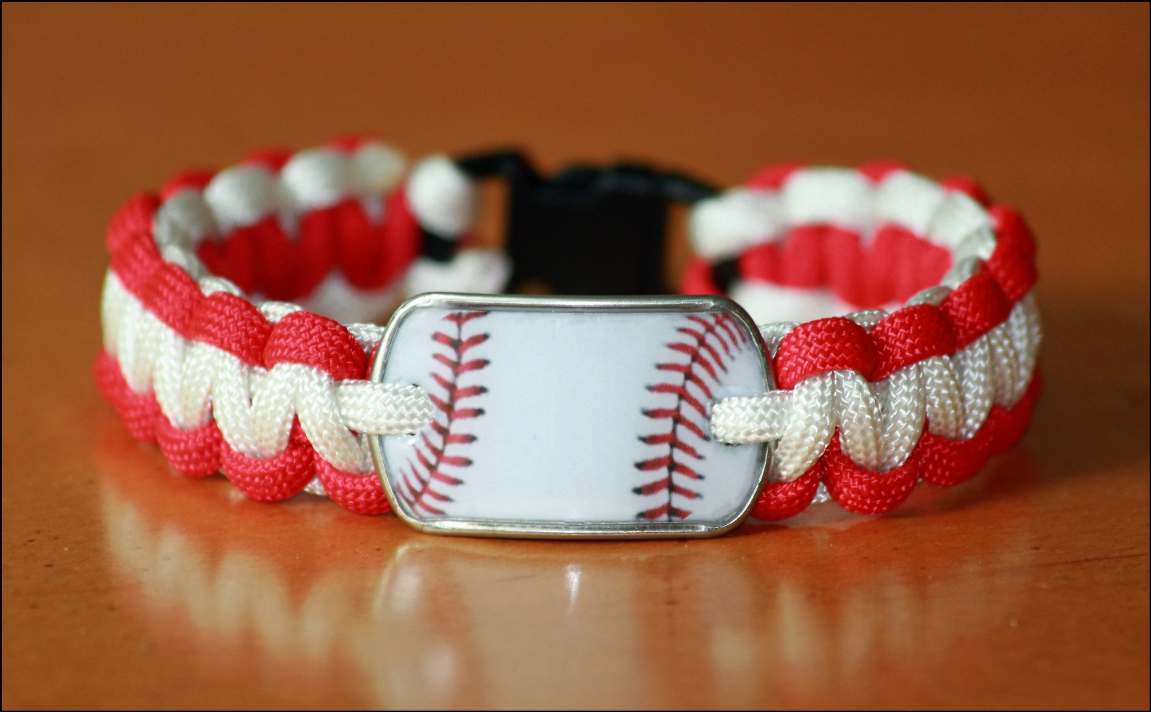 Baseball Dog Tag Red and White Bracelet<br>ONLY 1 LEFT!