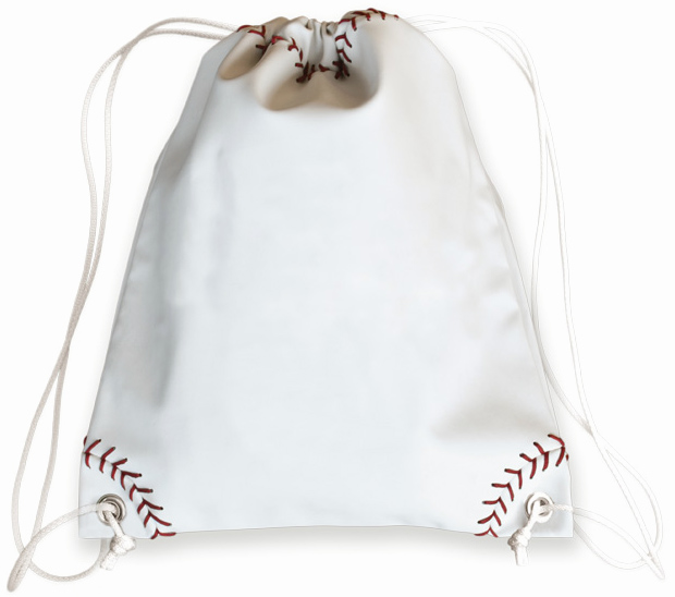 White Baseball Drawstring Bag<br>LESS THAN 6 LEFT!