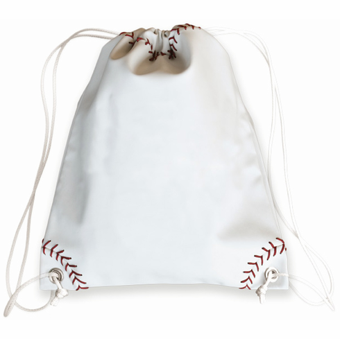White Baseball Drawstring Bag