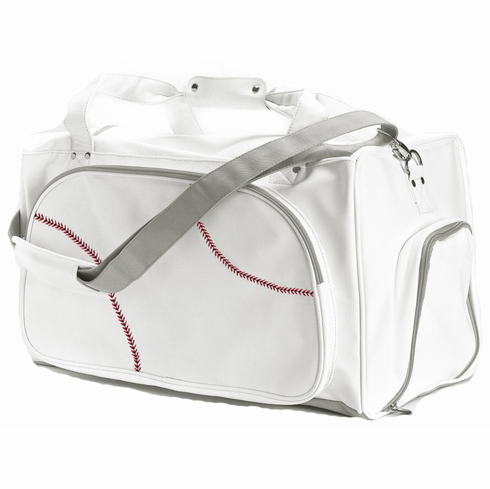 White Baseball Duffel Bag<br>ONLY 1 LEFT!