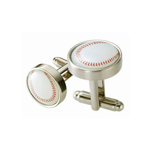 Baseball Silver Metal Cufflinks