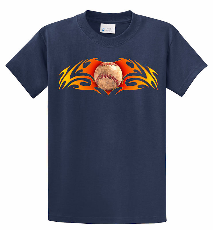 Baseball Fireball T-Shirt<br>Choose Your Color<br>Youth Med to Adult 4X
