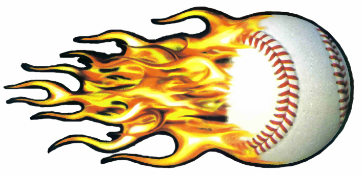 Baseball Flames Decal