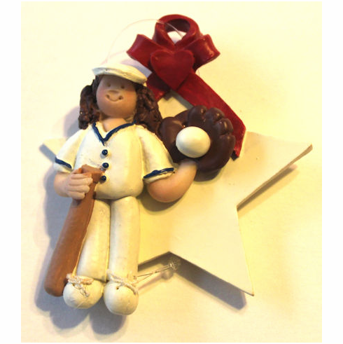 Baseball Girl Star Ornament<br>ONLY 1 LEFT!