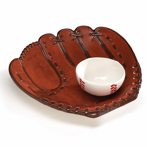 Baseball Glove Ceramic Chip and Dip Snack Bowl Set