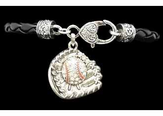Baseball Glove Crystal Stone Black Leather Bracelet