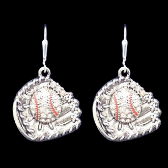 Baseball Glove Crystal Stone Dangle Earrings