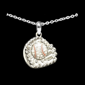 Baseball Glove Crystal Stone Necklace