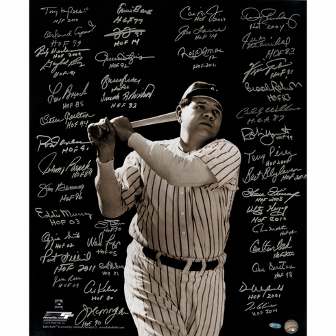 Baseball Greats Multi Signed Inscribed Vertical 20x24 Photo of Babe Ruth Batting 41 Signatures
