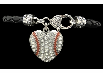 Baseball Heart Crystal Stone Black Leather Bracelet