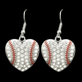 Baseball Heart Crystal Stone Dangle Earrings