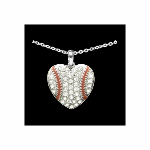 Baseball Heart Crystal Stone Necklace