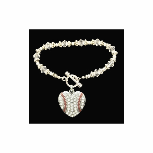 Baseball Heart Crystal Stone Toggle Bracelet