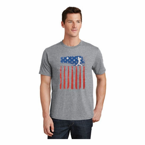 Baseball Homerun Flag Gray T-Shirt<br>Youth Med to Adult 4X