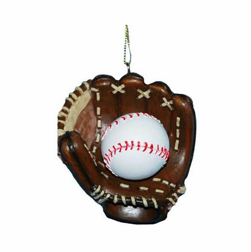 Baseball in Glove Resin Christmas Ornament<br>LESS THAN 30 LEFT!