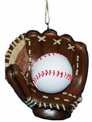 WEEKLY SPECIAL #6<br>Baseball in Glove Resin Christmas Ornament<br>LESS THAN 30 LEFT!
