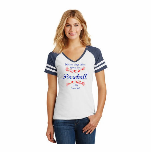 Baseball is his Favorite Ladies Game V-Neck T-Shirt<br>Choose Your Colors<br>Ladies XS-4X