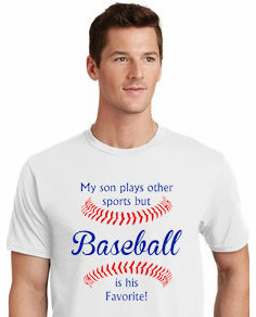 Baseball is his Favorite T-Shirt<br>Choose Your Colors<br>Youth Med to Adult 4X
