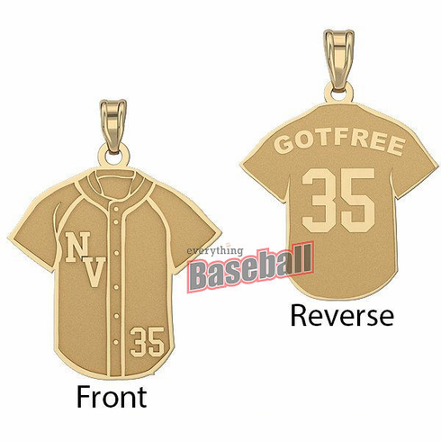 Baseball Jersey Pendant with Team Initials, Name & Number<br>GOLD or SILVER