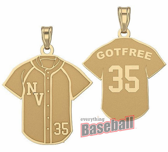 Baseball Jersey Pendant with Team Initials, Name & Number<br>GOLD or SILVER<br>NOT GUARANTEED FOR CHRISTMAS DELIVERY