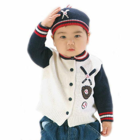 Baseball Knit Cardigan Sweater<br>YOUTH 6-12MO