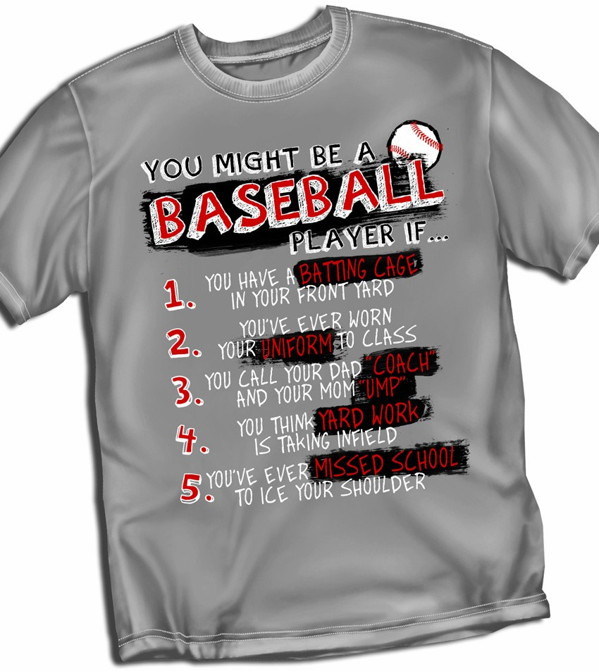 Baseball List Gray T-Shirt<br>Youth Med to Adult 4X