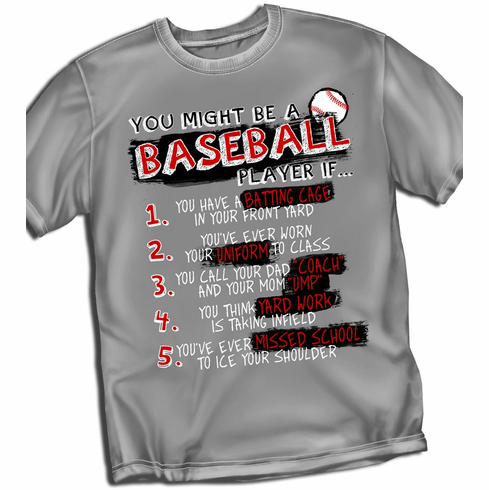 Baseball List<br>Gray T-Shirt<br>Youth Med to Adult 4X