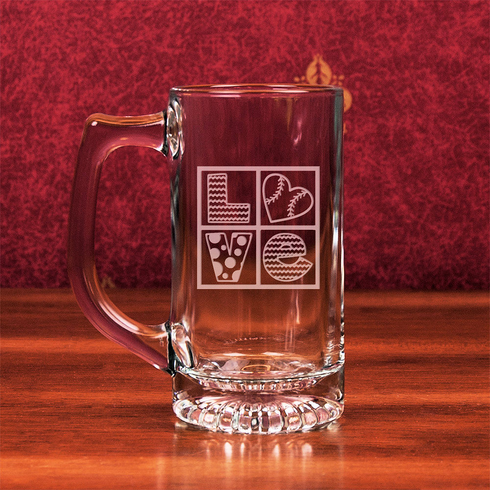 Baseball Love Etched 13oz Star Bottom Glass Sports Mug<br>2 DESIGNS!