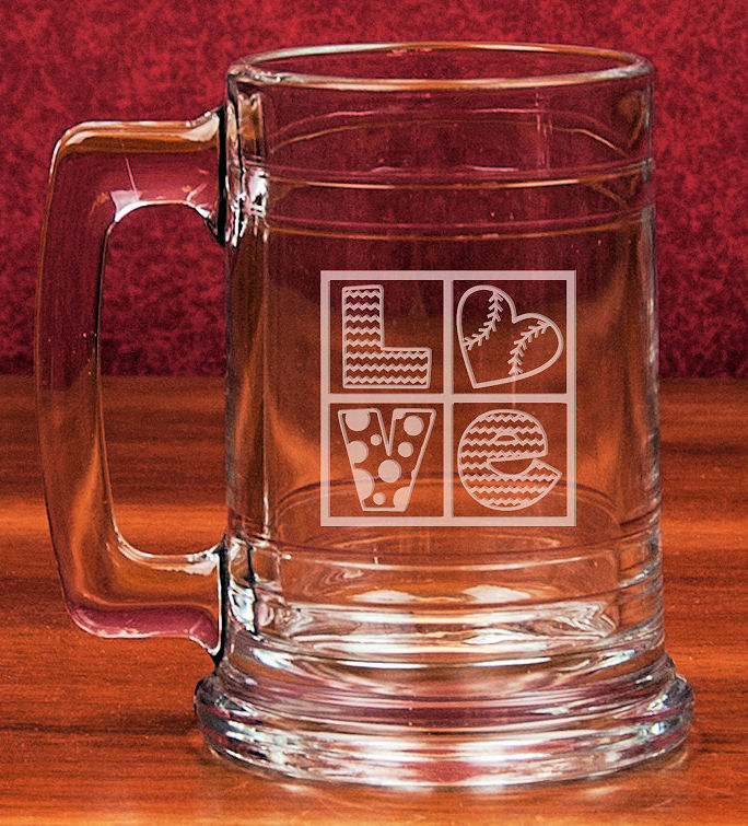 Baseball Love Etched 15oz Colonial Glass Tankard<br>2 DESIGNS!