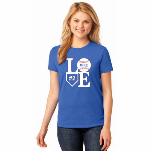 Baseball Love Personalized Ladies T-Shirts<br>Choose Your Text and Number<br>Choose Your Color<br>Tank, V-Neck, or Crew<br>Ladies XS-4X