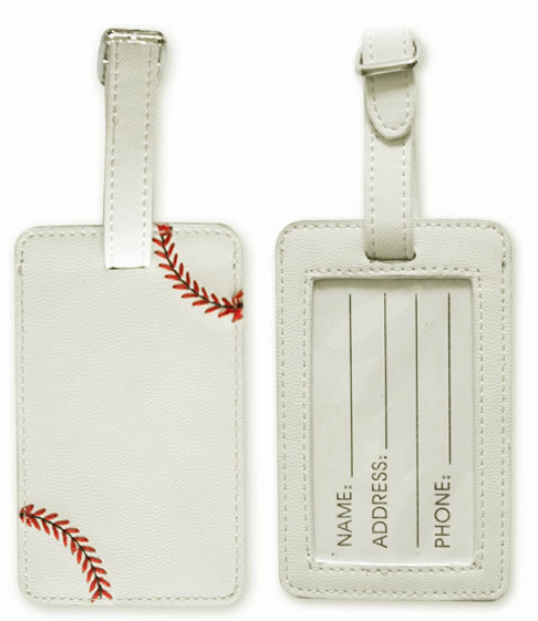 White Baseball Luggage Tag