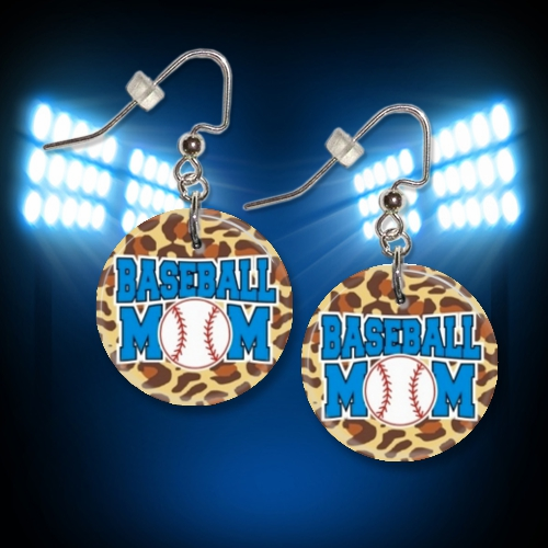 Baseball Mom Cheetah Button Dangle Earrings<br>ONLY 5 SETS LEFT!